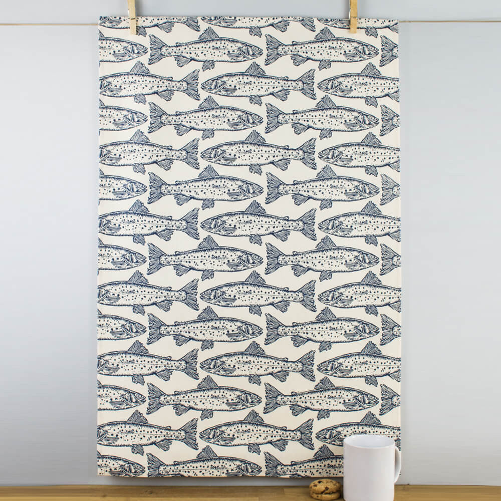 Block Print Salmon Cotton Tea Towel by Ulster Weavers