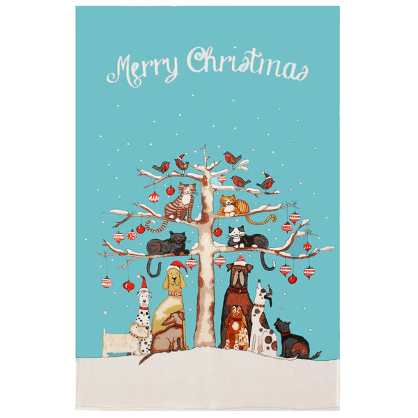 Merry Christmas Cats & Dogs Cotton Tea Towel
