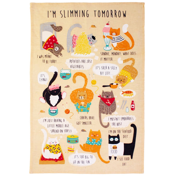 I'm Slimming Tomorrow Linen Tea Towel