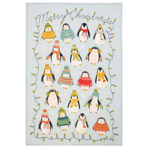 Merry Christmas Penguins Linen Tea Towel by Ulster Weavers