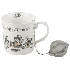 V&A Alice in Wonderland Gold Fine China Gift Box Mug & Tea Infuser Set