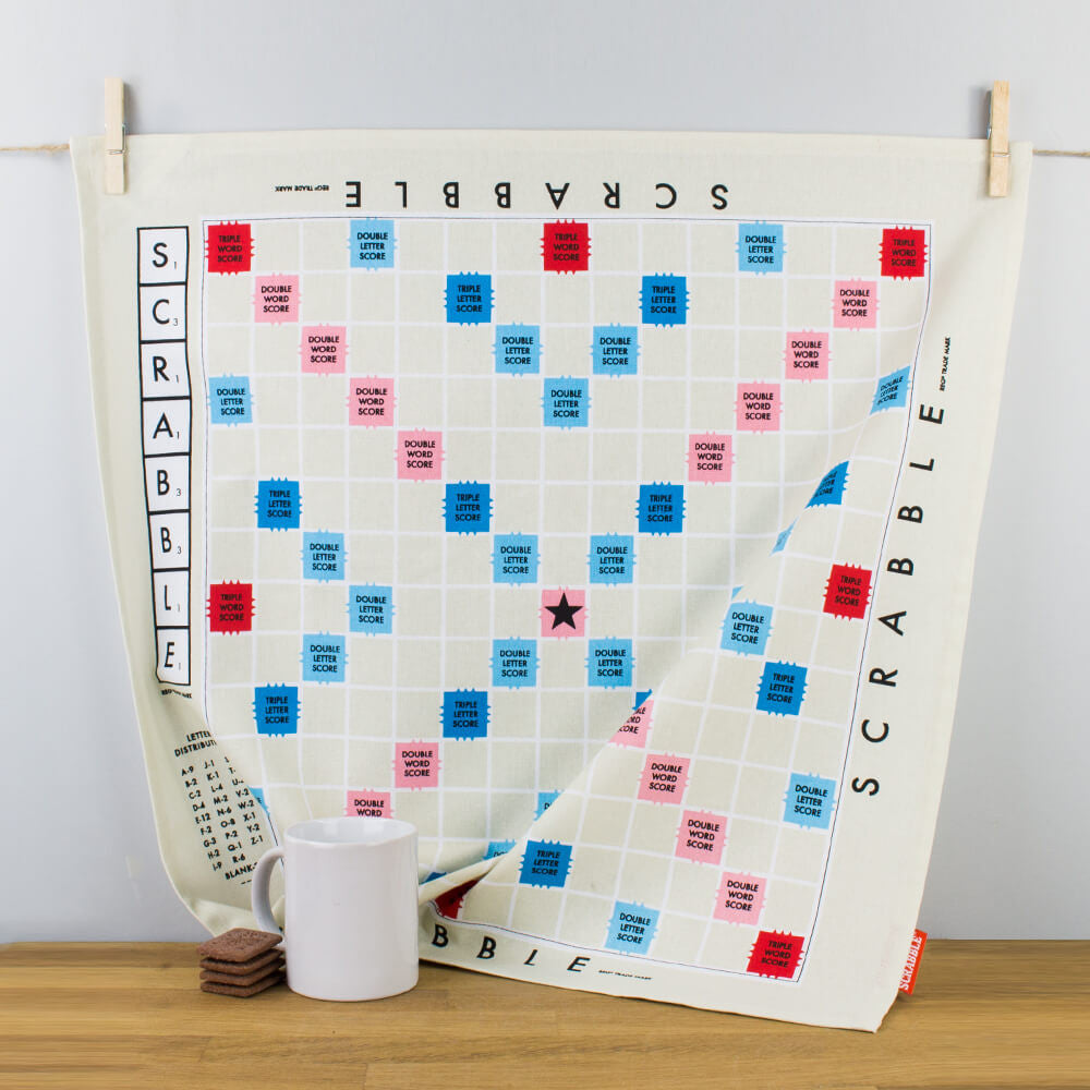 Scrabble Game Board Square Cotton Tea Towel by Wild & Wolf