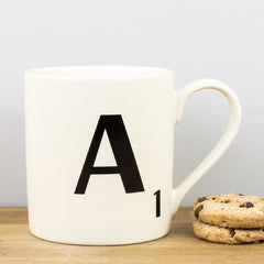 Wild & Wolf Scrabble Tile Letters A - Z Personalised Ceramic Gift Mugs