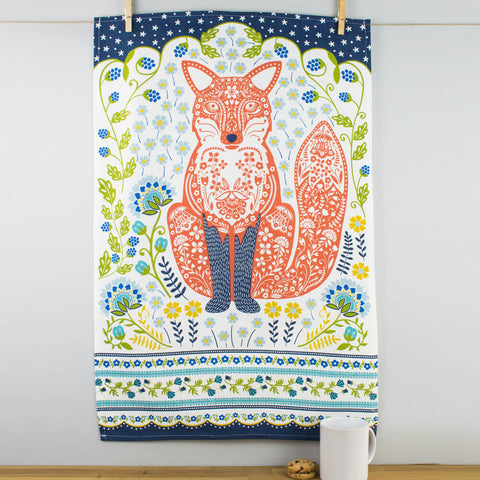 Woodland Fox Cotton Tea Towel by Ulster Weavers