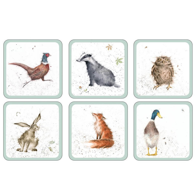 Pimpernel Wrendale Designs Set of 6 Animal Coasters Cork Backed Set