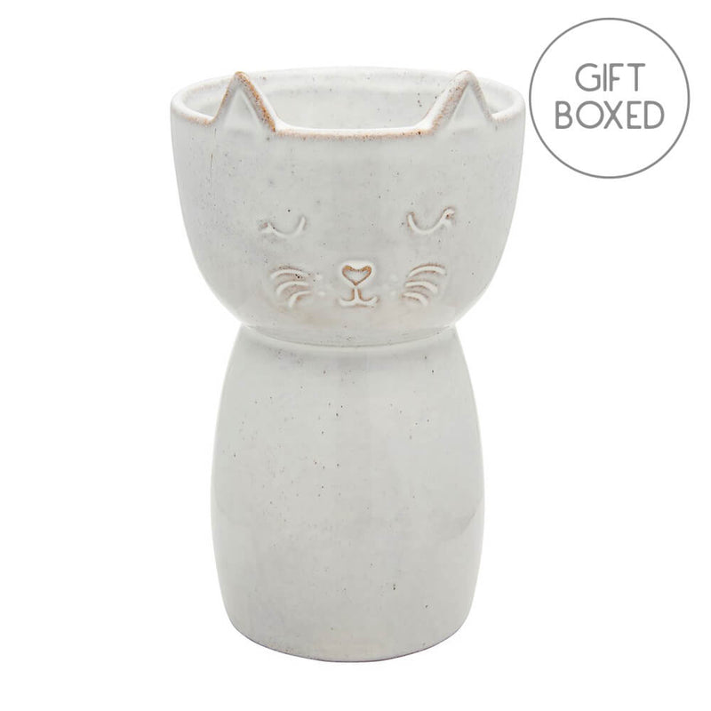 Sass & Belle Speckled Glaze Stoneware Cat Vase Gift Boxed