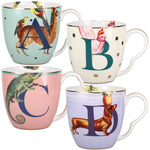 Fifty One Percent Yvonne Ellen Animal Alphabet Initial Bone China Mug