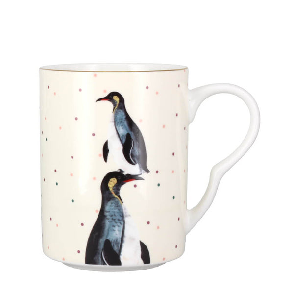 Yvonne Ellen Penguin Gold Decorated Spotty Bone China Coffee Cup Mug