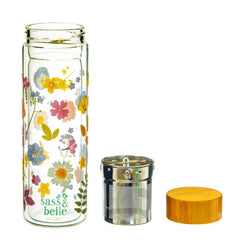 Sass & Belle Pressed Flowers Glass Water Bottle with Infuser