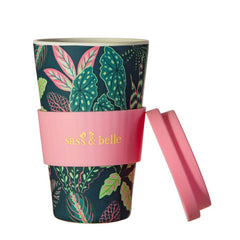 Sass & Belle Variegated Leaves Bamboo Travel Reusable Coffee Cup