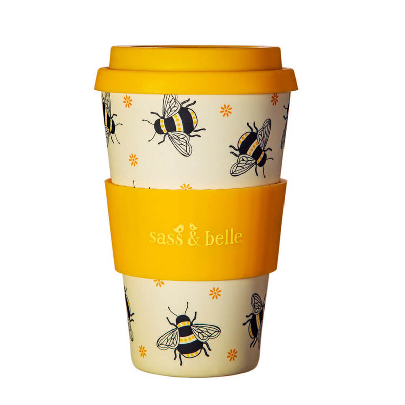 Sass & Belle Busy Bees Honey Yellow Bamboo Travel Reusable Coffee Cup
