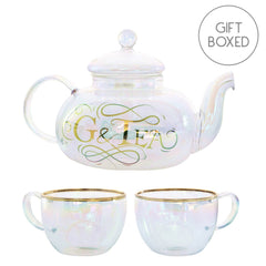 Root7 G&Tea Cocktail Set Rainbow Glass Teapot & Cup Gift Boxed Set