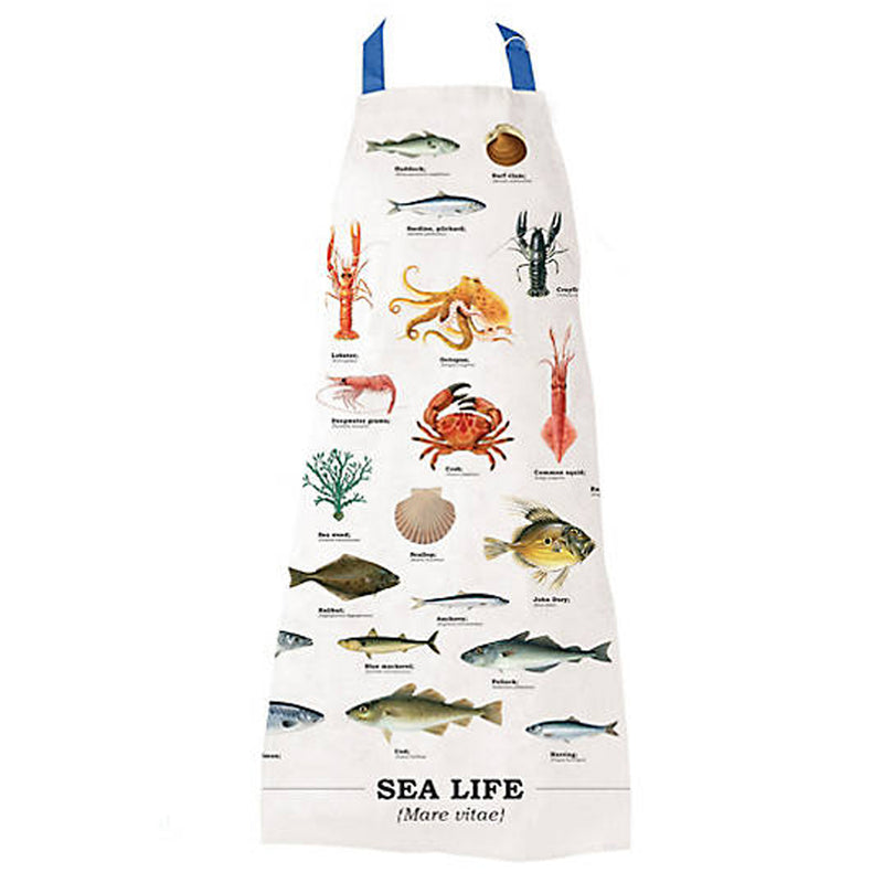 Gift Republic Ecologie Mare Vitae Sea Life White Cotton Kitchen Apron