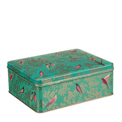 Elite Tins Sara Miller Green Birds Deep Rectangle Kitchen Storage Tin