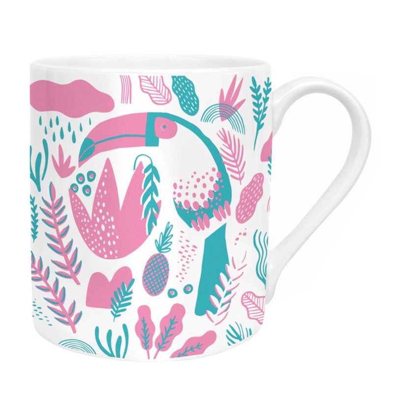Ohh Deer x Helly!Lucky Tropical Toucan Pink Bone China Mug UK Made