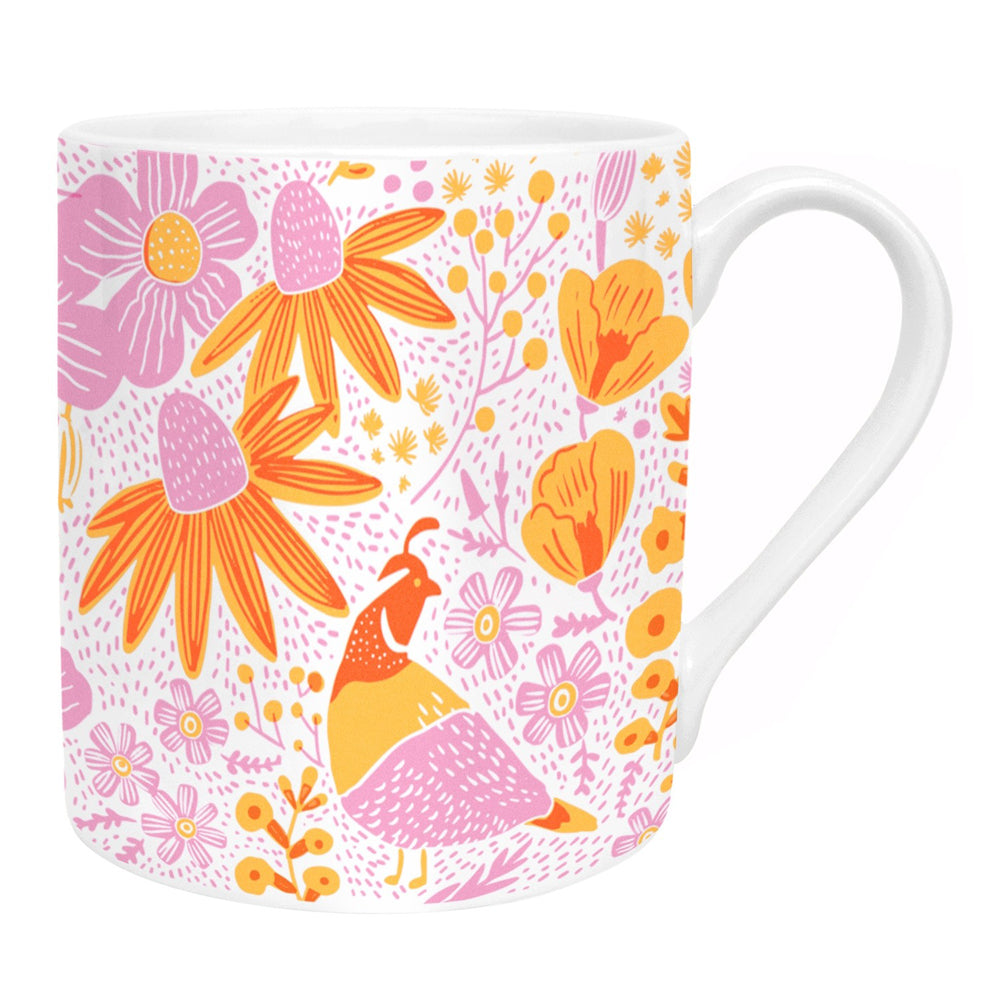 Ohh Deer x Helly!Lucky California Flora Poppies Bone China Mug UK Made