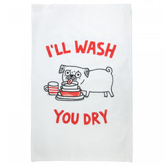 Ohh Deer x Gemma Correll I'll Wash You Dry Pug Dog Cotton Tea Towel