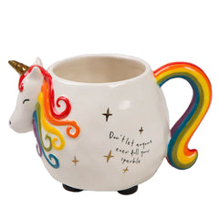 Natural Life Folk Critter Rainbow Coloured Unicorn Shaped Ceramic Mug