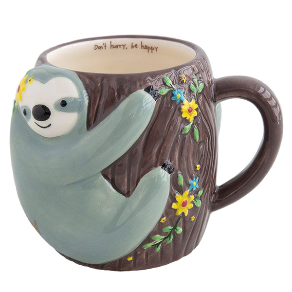 Folk Critter Sloth Shaped Ceramic Mug