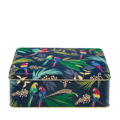 Elite Tins Sara Miller Parrot Blue Deep Rectangle Kitchen Storage Tin