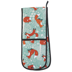 Ulster Weavers Foraging Fox Floral Aqua Blue Cotton Double Oven Glove