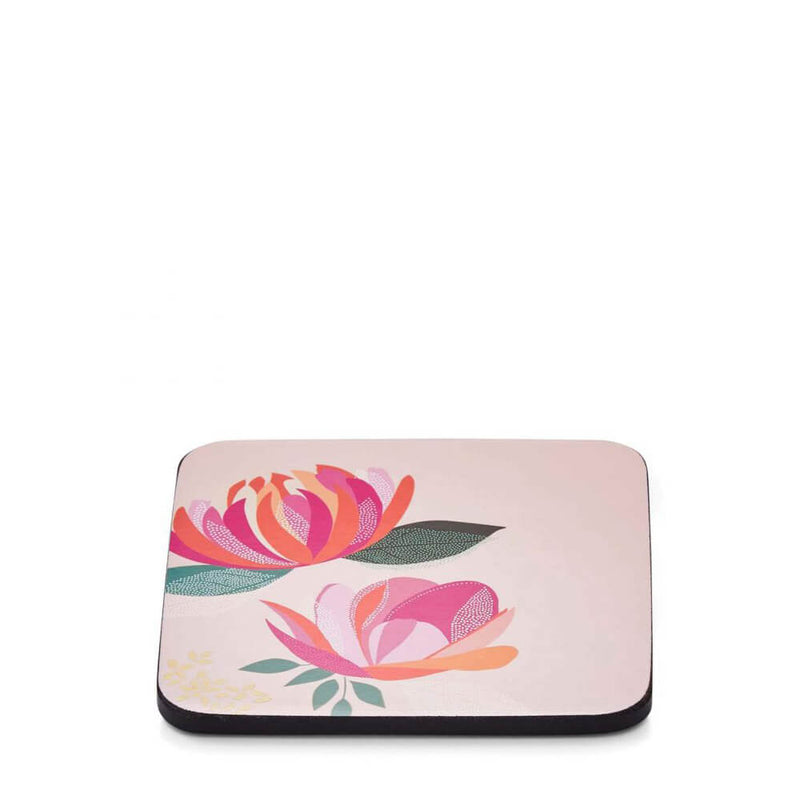 Portmeirion Sara Miller Peony Pink Cork Backed Coasters Set of 6