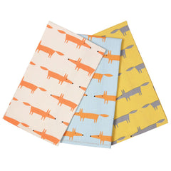 Scion Mr Fox Print Set of 3 Cotton Tea Towels in a Gift Box