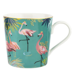 Portmeirion Sara Miller Tahiti Flamingo Fine China Gift Boxed Mug