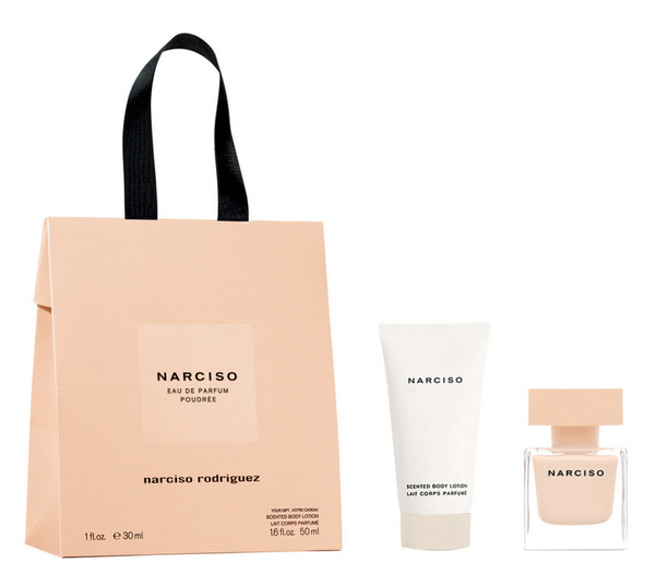 Narciso Rodriguez FOR  HER POUDREE bag EdP30/Body Lotion 50 ml.  - Beautyvonappen.dk