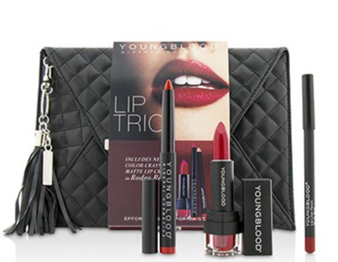 YOUNGBLOOD Kit Make-up Holiday kit lips crayon, lipstsick & pencil. -Beautyvonappen.dk