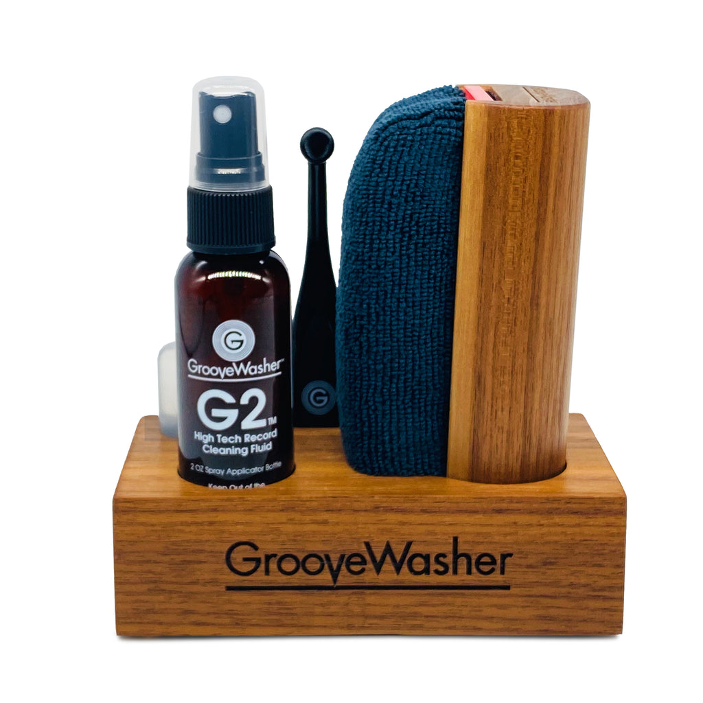 GrooveWasher Walnut Display Block + 2 oz G2 Fluid Bottle