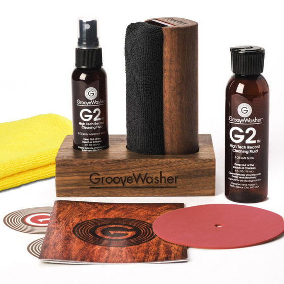 GrooveWasher Record Cleaning System with Walnut Display Block