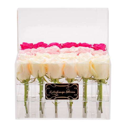 Pretty in Pink - Crystal Clear Box and Ombre Pink Roses