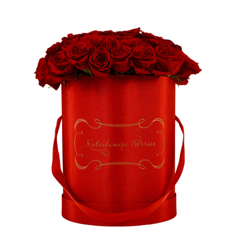 Roll Out The Red Carpet - Cardinal Red Hat Box With Deep Red Roses