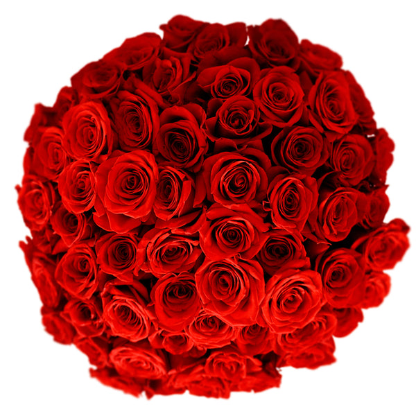 Round cluster of dozens of roses in a hat box viewed from the top