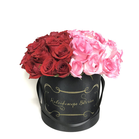 You own both halves of my heart-Black hatbox with heart shaped roses