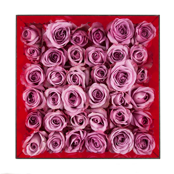 Shown from top, 3 dozen roses in garnet red acrylic box