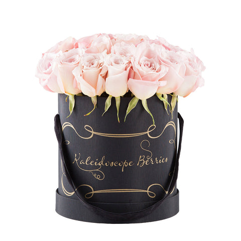 Cotton Candy Tuxedo -  Black Hatbox with Pale Pink Roses