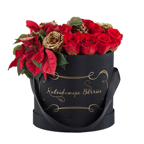 Poinsettias in Black
