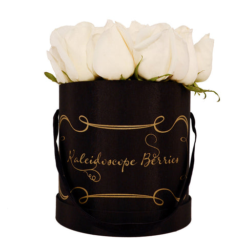 Black Tie - Black Hatbox with White Roses