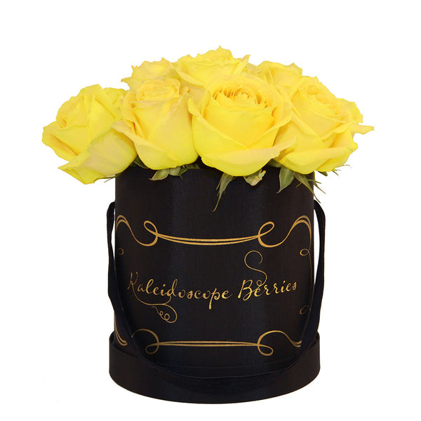 yellow roses black hatbox