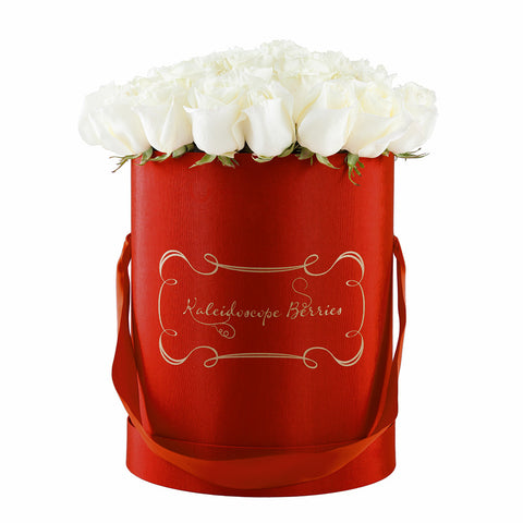 Blooms in Scarlet -  Cardinal Red Hat Box With Bouquet of Marfil White Roses