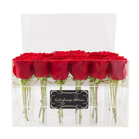 Fire and Ice -  Crystal Clear Acrylic Box with Red Roses