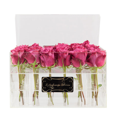 Purple Rain - Crystal Clear Acrylic box with Blueberry Roses