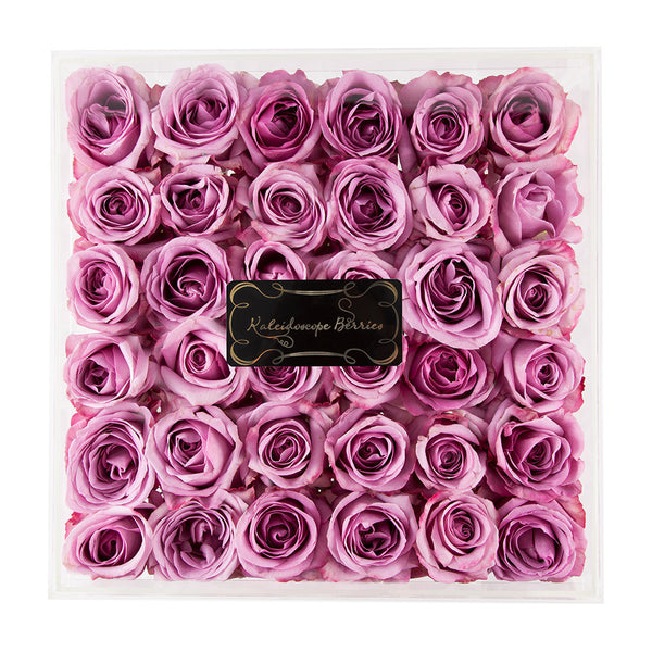 perfect square of roses in acrylic case