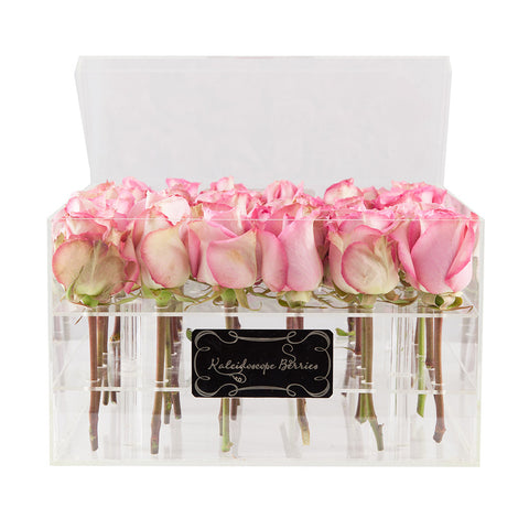 Pink Diamond - Clear Acrylic Box and Pink Roses