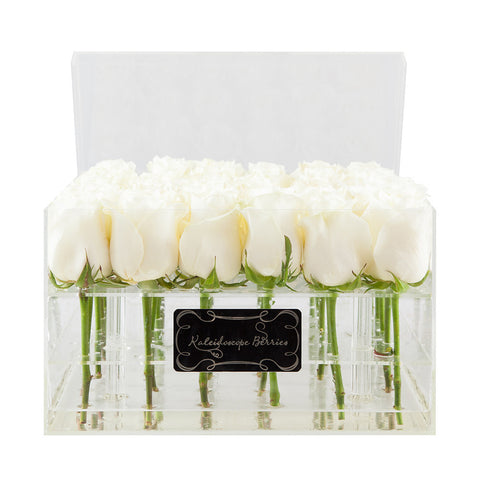 Snow Queen - Crystal Clear Acrylic Box and Snow White Roses