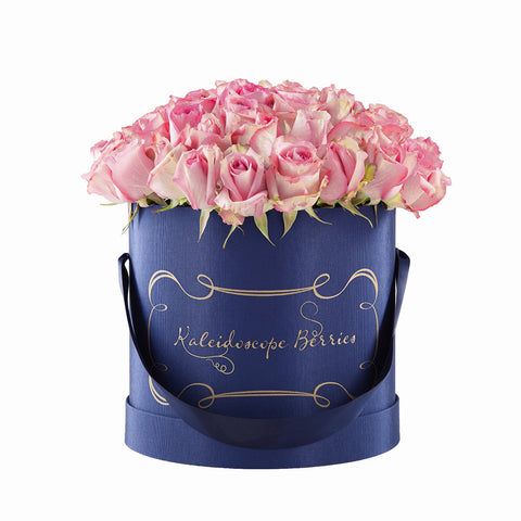 Regal Rosé - Navy Blue Hatbox with Pink Roses