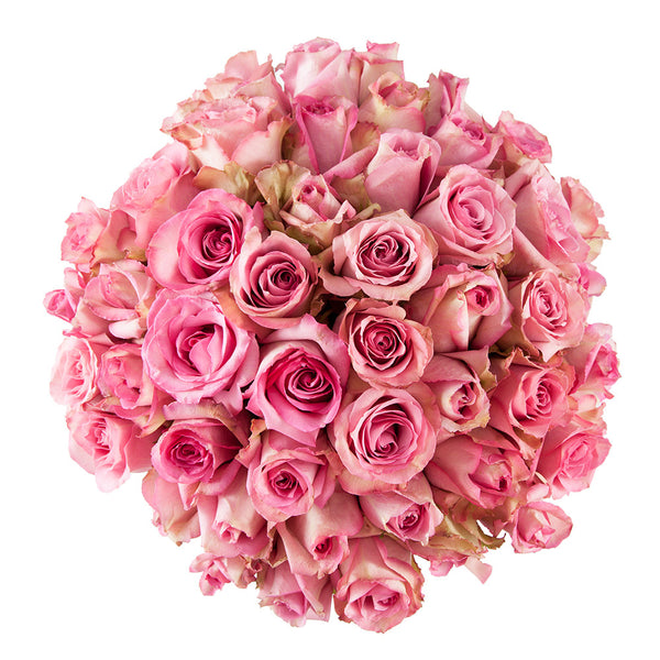 perfectly round pink rose bouquet