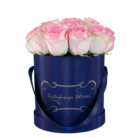 Positano - Navy Blue Hatbox with Pink Tip Roses